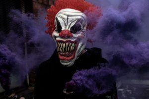 a clown full of fear